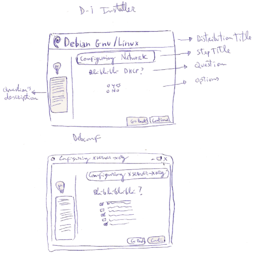 Sketches for debian installer and debconf